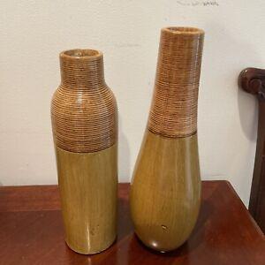 "Vintage Tuscan Home Lot Of 2 tan 12""  vase"