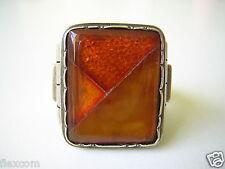 Antigua 835 anillo de plata naturaleza Bernstein-mosaico Louis vausch 9,8 G/18,5mm Amber