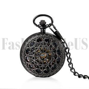 Mens Womens Pocket Watch Mechanical Black Steampunk Skeleton Retro Chain Luxury