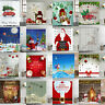 Waterproof Shower Curtain Fabric Christmas Bathroom Curtain Panel Sheer &12 Hook
