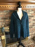Chico's Wool Blend Cardigan Sweater Plus Size 3 Teal