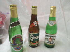 Vintage 3 glass Beer Bottles Green Rooster Gosser Dortmunder Union empty