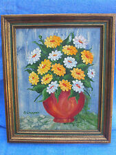 """Vintage Framed Art Flowers Painting Signed 10"""" X 12"""" Yellow & White"""