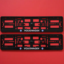 New Pair Volkswagen Black Number Plate Surrounds Holder Frame For Vw Cars Vans