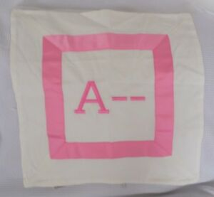 """Pottery Barn Teen Pink Suite Ribbon Pillow Cover """"A--"""" 16"""" square  NWOT NLA"""