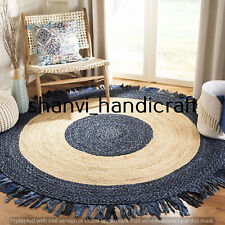 Round Braided Natural 7x7 Feet Cotton Jute Handmade Woven Floor Carpet Area Rugs