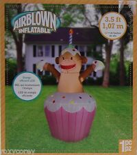 Gemmy 3.5 ft Happy Birthday Cupcake Sock Monkey Airblown Inflatable NIB