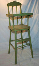 """VINTAGE 24.5"""" WOODEN DOLL HIGHCHAIR BABY CHAIR PAINTED GREEN WITH LIFTING TRAY"""
