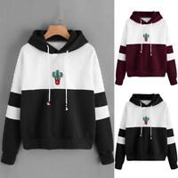 Women's Long Sleeve Hoodie Sweatshirt Hooded Pullover Coat Blouse Cactus Print