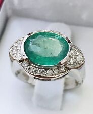 14k Solid White gold Natural Diamond & Emerald ring   May Birthstone 3.90 ct