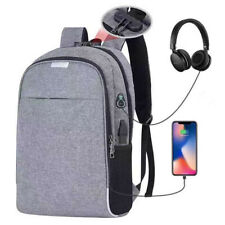 Unisex Anti-Theft Laptop Backpack USB Charging Port Notebook Bag Travel School
