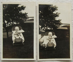 2 Vintage Photos*Baby in Bonnet Holding a Stuffed Animal*cat*carriage*1927*toy