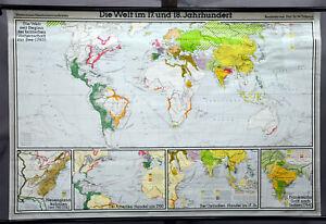 vintage pull down map world 17th century 18th century