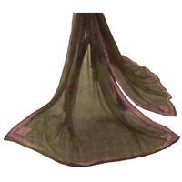Sanskriti Vintage Dupatta Long Stole Chiffon Silk Green Hand Beaded Tie & Dye