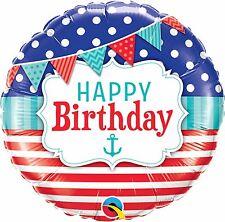 Ballons alu Rond Qualatex Happy Birthday Nautique 45 cm