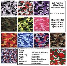 Military Style Camo 100% cotton fabric - Pick SIZE & from 12 COLORS - face mask