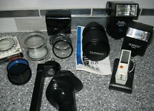 LOT of 35MM CAMERA Accessories 1 LENS, 2 FLASHES, 9 LENS FILTERS, 1 DuoFit