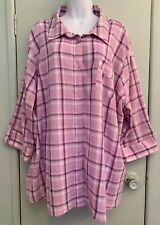 Basic Editions Plus Size 3X Button Up Purple Plaid Cotton Shirt Roll Tab Sleeve