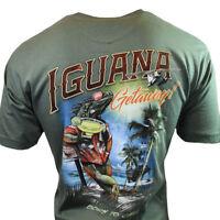 "I-Guana Getaway Men's T-shirt-Medium ""Newport Blue"" Born To Chill- Iguana -Gecko"
