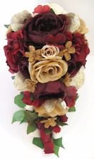 17 piece Wedding Bouquet package Bridal Silk Flowers Cascade BURGUNDY WINE GOLD