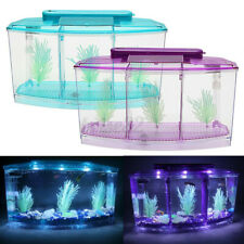 Triple Betta Fish Aquarium Tank with Led Divider Filter Small Penn Pla