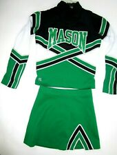 "3 Piece Mason Cheerleader Uniform Outfit Costume 32"" Top 24"" Skirt Sparkle Green"