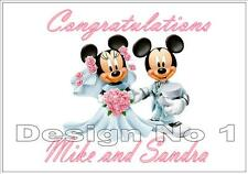 LUXURY Personalised Mickey & Minnie Mouse Wedding Card Quality Ribbon Gems NEW!!
