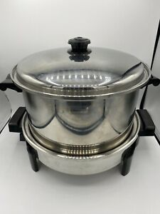 Saladmaster Stainless Electric Skillet L #7256 w/ Vapo Lid and T304S 12qt Pot
