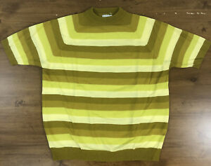 VTG 50s 60s MOD Knit Short Sleeve Shirt Sweater Top Towncraft Penneys Stripe MCM