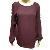 Ex Wallis Long Sleeve Button Sholder Top / Blouse (Wine or Black)