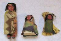 3 Vintage Souvenir Skookum Native Indian Doll Figures Standing & Papoose