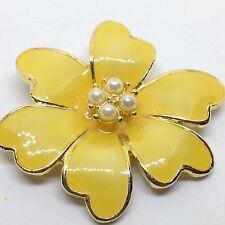 Vintage FLOWER BROOCH PIN Yellow Enamel Faux Pearl Gold Tone Costume Jewelry