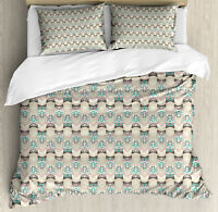 Owls Duvet Cover Set with Pillow Shams Native Geometric Zigzag Print