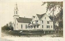 WHEATLAND IOWA - GERMAN REFORM CHURCH & PARSONAGE - 1917 OLD REAL PHOTO POSTCARD