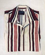 Mens Wrangler Button Up Short Sleeve Red, White & Blue Stripe X-Long Tails Shirt