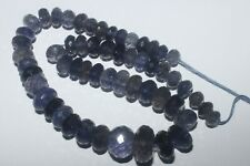 137CARTS 6to10MM NATURAL GEMSTONE IOLITE FACETED RONDELLE BEADS STARND #980