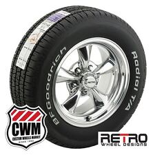 15x7 /15x8 Polished Wheels Rims Tires 225/60-255/60R15 for Dodge Charger 1966-78