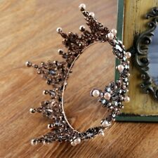 Luxury Antique Copper Black Queen Wedding Bridal Party Pageant Prom Crown