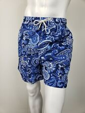 POLO RALPH LAUREN Big Tall Navy Blue Paisley Swim Trunk Bathing Suit 2XB NWT $85