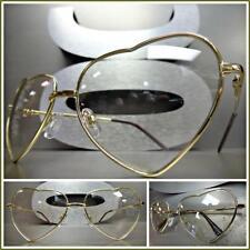 CLASSIC VINTAGE RETRO Style Clear Lens EYE GLASSES Heart Shape Gold Metal Frame