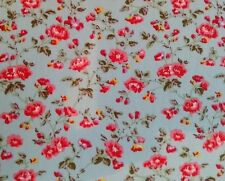 "VINTAGE MINI ROSE light blue​ 100℅ cotton poplin fabric by the metre 45"" wide"