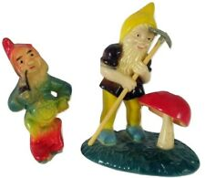 Two Vintage Miniature Hard Plastic Gnome Figures One On Base - One Smoking Pipe