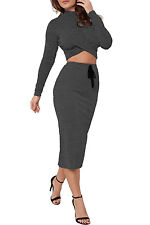 New Womens knitted Long Sleeve Polo Neck Twist Front Crop Top Midi Skirt Co-Ordi