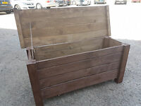 Extra Large Wooden Trunk 100 cm Long of Solid Wood Pine In Rusty Color