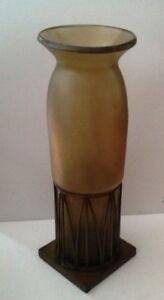 Art Deco Style 2-Pc Hand Blown Glass Tall Brown Glass Floor Vase in Metal Base