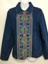 The Territory Ahead Womens M Embroidered Blue Cotton Denim Jean Jacket