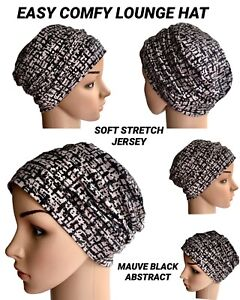 HEADWEAR FOR HAIR LOSS, BLACK MAUVE EASY LOUNGE JERSEY HAT CANCER CHEMO