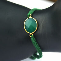 Green Onyx gemstone cord bracelet 925 Sterling silver Gold Plated Jewelry 6g
