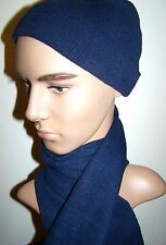 Navy  Blue  Winter Knit Hat And Scarf Set