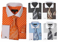 Men's French Cuff Dress Shirt with Polka Dot Design 3 Pieces Set Size 15~20